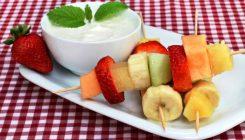 fruit kebabs with yogurt honey from The Jewish Kitchen