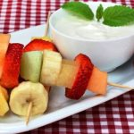 fruit kebabs with honey yogurt dip from The Jewish Kitchen