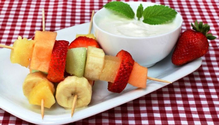 Fruit Kebabs with Yogurt-Honey Dip