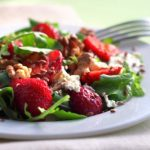 spinach salad with strawberries and goat cheese from The Jewish Kitchen