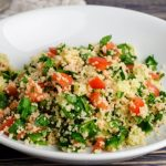 couscous with spinach onions and tomatoes from The Jewish Kitchen