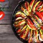 baked zucchini, eggplant and tomato from The Jewish Kitchen