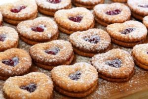 Linzer cookies with raspberry jam.