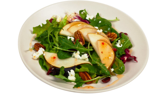 Mesclun Greens with Pears, Dried Cherries and Candied Walnuts