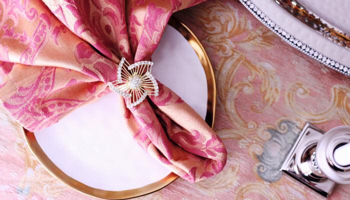Gold Jeweled Pinwheel Napkin Rings