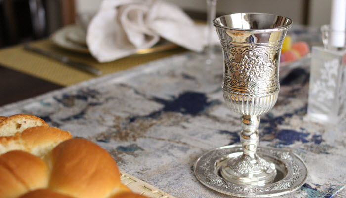 Embossed Flower Kiddush Cup & Tray