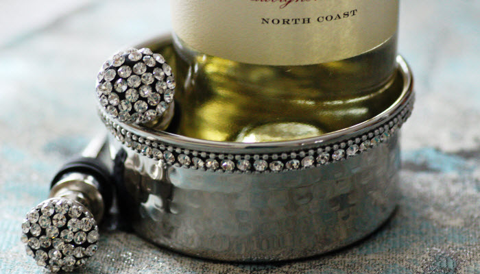 Jeweled Stainless Steel Wine Coaster