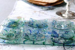 Artisanal Blue Glass Seder Plate