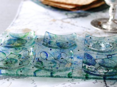Artisanal Blue Glass Seder Plate