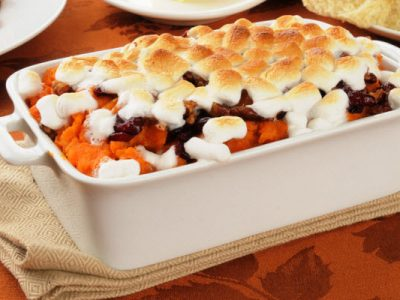 sweet potatoes casserole with pineapple and marshmallows