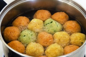 tri color matzoh balls from The Jewish Kitchen