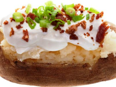 baked potatoes with kosher bac'n pieces
