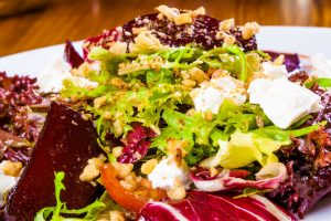 beet salad with goat cheese and nuts from The Jewish Kitchen