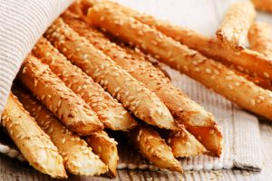 crunchy bread sticks with sesame seeds
