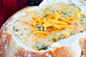 broccoli cheddar soup in bread bowl from The Jewish Kitchen