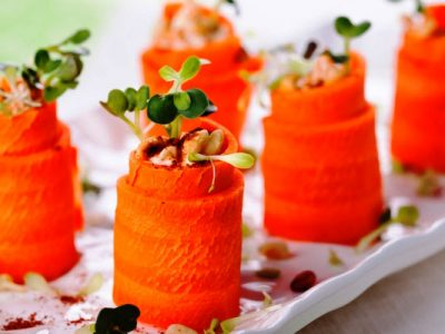 carrot and hummus roll ups from The Jewish Kitchen
