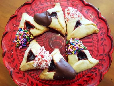 chocolate dipped candy hamantaschen