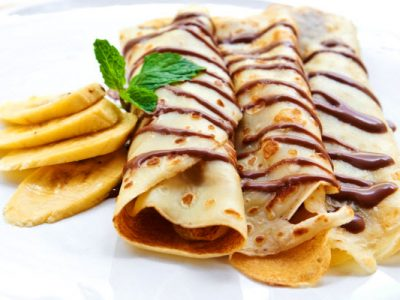 fresh banana crepes with dark chocolate healthy option