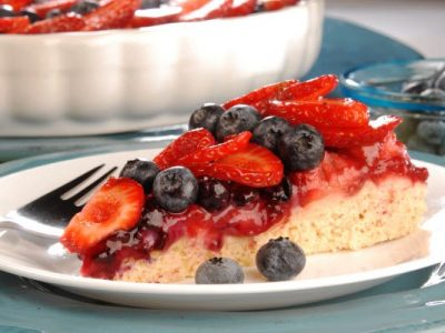 fruit flan with fresh berries