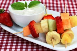 fruit kebabs with yogurt honey from The Jewish Kitchen