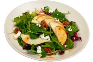 mesclun greens with pears dried cherries and candied walnuts
