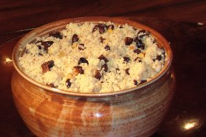moroccan fig, pine nut, and  black bean couscous