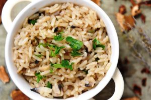 sauteed mushrooms and rice