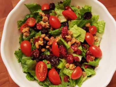 fall salad with dried cranberries and candied walnuts