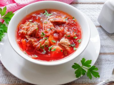 sweet and sour cabbage soup from The Jewish Kitchen