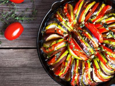 baked zucchini, eggplant and tomatoes